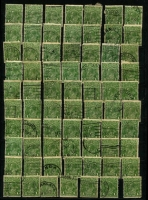 Lot 236 [1 of 2]:1d Green Accumulation in stockbook, unsorted, potential for varieties & shade enthusiasts, limited postmark interest. (2,000 approx).