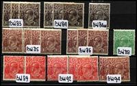 Lot 243 [2 of 3]:1d, 1½d & 2d Mint Selection with Single Wmk 1d green variety Flaw under neck x2 (one in a a pair) LMult Wmk 1½d black-brown on Very thin paper, SMult P13½x12½ 1d green Die II x2, etc; also range of shades, odd gum tone, generally fine. (60)