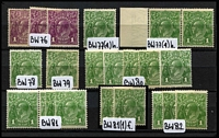 Lot 243 [1 of 3]:1d, 1½d & 2d Mint Selection with Single Wmk 1d green variety Flaw under neck x2 (one in a a pair) LMult Wmk 1½d black-brown on Very thin paper, SMult P13½x12½ 1d green Die II x2, etc; also range of shades, odd gum tone, generally fine. (60)