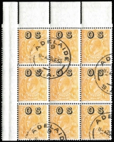 Lot 691:½d Orange Electro 8 Overprinted 'OS' upper-left corner block of 9 [8R 1-3, 7-9 & 13-15] with Brusden White listed varieties BW #69(OS)(8)o,p,q, additionally with Double perfs in upper margin, Adelaide CTO datestamps, full unmounted gum, Cat $200+++.