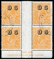 Lot 693:½d Orange Electro 8 Overprinted 'OS' Ash imprint block of 4 with variety Lower end of left fraction bar thickened - corrected by makeready [8L60] BW #69(OS)(8)z, Melbourne CTO datestamps, full unmounted gum, Cat $150+.