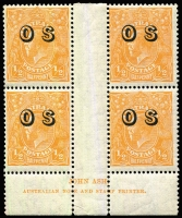 Lot 695:½d Orange Electro 9 Overprinted 'OS' Ash imprint block of 4 with variety Break in top frame left of crown BW #69(OS)(9)z, one unit with faint gum tone, fresh MUH overall, Cat $150+.