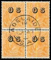 Lot 694:½d Orange Electro 9 Overprinted 'OS' block of 6 with variety Spur on left side of left value tablet [9L20] BW #69(OS)(9)e, extremely well centred for 'OS' overprint issue, Adelaide CTO datestamp, full unmounted gum, Cat $80+.