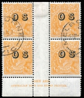 Lot 696:½d Orange Electro 9 Overprinted 'OS' Ash imprint block of 4 with variety Break in top frame left of crown [9L60] BW #69(OS)(9)z, Melbourne CTO datestamps, mounted at top of central gutter otherwise full unmounted gum, Cat $150 mint (unpriced used).