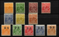 Lot 690 [2 of 2]:½d To 1/4d set, plus ½d to 5d optd 'OS', fresh MUH, Cat $650+. (13)