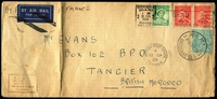 Lot 312 [1 of 2]:1/4d Greenish Blue BW #131 tied by Airmail Brisbane '27AU38' datestamp, used to uprate 5d franked cover to be sent jusqu'a airmail via France to British Tangier, backstamped in French Tangier with British PO Tangier arrival datestamp on face, filing crease well clear of stamps. Very scarce origin/destination for the period, Cat $300 on cover.