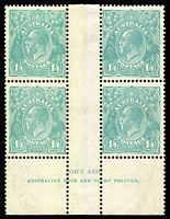 Lot 579:1/4d Greenish Blue Ash imprint block of 4 BW #131z, MLH in upper gutter (one unit touched), three units MUH, Cat $1,000+.