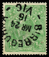 Lot 1071:½d Green Comb Perf Electro 3 Watermark inverted variety Clubbed fraction bar at left [3R11] BW #63a(3)j, fine used with 1916 unframed Birregurra datestamp, Cat $1,500+. Rare variety combination. Drury Certificate (2013).
