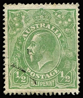 Lot 1073:½d Green Comb Perf Electro 5 variety Cracked electro left wattle to 'U' [5L46] BW #63(5)h, corner datestamp well clear of the flaw, Cat $5,000. Premium example. Drury Certificate (2017).