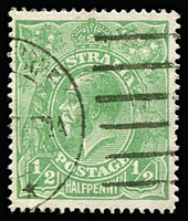 Lot 176:½d Green Comb Perf Electro 5 Cracked electro, left wattle to 'U' - early state [5L46] BW #63(5)h, tidy machine cancel slightly impinges upon flaw, well centred, Cat $5,000.