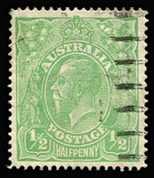 Lot 1074:½d Pale Emerald Single Line Perf BW #64A, well centred, fine used, Cat $900.