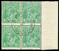Lot 89:1½d Green Die 1 marginal block of 4 with central Melbourne CTO datestamp BW #88w, full unmounted gum. Scarce as a multiple.