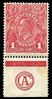 Lot 205:1d Red Rough Paper Plate 2 'CA' Monogram substituted for 'JBC' single BW #72(2)ze, mild tone in selvedge, well centred, MUH, Cat $4,000 (as mounted mint). Rare!