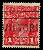 Lot 679:1d Scarlet Aniline (G18) Smooth Paper variety Rusted cliché second state [IV/34] BW #71I(2)j, fine used, Cat $750. Australian Commonwealth Specialists' Society of GB Certificate (1963).