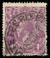 Lot 249:4d Violet Plate 2 variety Line through 'FOUR PENCE' [2R12] BW #112(2)r, minor perf blemishes, Late Fee '20DE21' datestamp slightly impinging upon the flaw, Cat $12,000 (SG #64a, Cat £8,500). Iconic and highly sought-after Georgian Head flaw, Stuart Hardy's example sold for $11,000+ in our November 2012 sale. [ACSC states '...at least 15 used examples have been recorded']