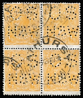 Lot 284:½d Orange Perf 'OS/NSW' BW #67wd postally used block of 4, Bathhurst (NSW) datestamps, fine condition, Cat $1,000+ (as a perf 'OS' block). Scarce.