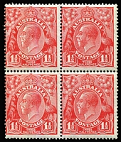 Lot 568:1½d Red Die II block of 4 comprising two Type A-B pairs, left-hand unit of upper pair State II - Type B re-entry: shading behind kangaroo, etc [4L47], left-hand unit of lower pair Type B re-entry: duplication of shading above right wattles [4L53] BW #91(4)fb&hb, fine mint, lower units MUH, Cat $2,250++ [A similar block sold for $1,490 in our Auction #53 held in March 2017.]