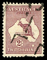 Lot 502 [1 of 2]:Selection With Varieties comprising used Third Wmk 2½d Heavy coastline to WA BW #11(2)d, SMult 2/- maroon (nibbed perfs) Thinned left frame opposite middle of WA #39(2)n, CofA 9d Break at top of 'I' of 'AUSTRALIA'; also Watermark inverted First Wmk 1d Die II & Third Wmk 2d grey, CofA 2/- Die II CTO with Inking flaw, 2/- Redrawn Die MLH. (7)