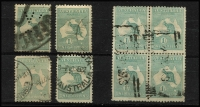 Lot 55 [2 of 4]:Used Selection various watermarks with ½d green x20 plus blocks of 4 x2 (faults), 1d red x60, 2½d blue x10, 3d olive x10, 6d blue x10, 6d brown x10, 9d x10, 1/- x8 including Third Wmk block of 4, 2/- maroon x24; mixed condition. (162)