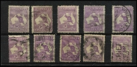 Lot 55 [3 of 4]:Used Selection various watermarks with ½d green x20 plus blocks of 4 x2 (faults), 1d red x60, 2½d blue x10, 3d olive x10, 6d blue x10, 6d brown x10, 9d x10, 1/- x8 including Third Wmk block of 4, 2/- maroon x24; mixed condition. (162)