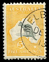 Lot 511 [1 of 3]:½d To 5/- CTO with Melbourne 'DE3/13' datestamps, 4d & 1/- with single gumside tonespots, full unmounted gum, Cat $1,430+. (12)