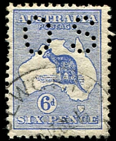 Lot 49:6d Ultramarine Perf Small 'OS' Watermark inverted BW #17abc, some nibbed perfs, well centred, tidy datestamp cancel, Cat $4,000.