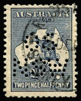 Lot 96:2½d Bluish-Indigo Perf 'OS/NSW' variety Islands east of Cape York [2L11] BW #10(2)f, perf reinforcement/repair at upper right. Scarce official puncture/variety combination, Cat $150+. Perf 'OS' not recorded for this issue.