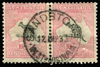 Lot 106:10/- Grey & Pale Pink BW #49, separated pair, minor paper wrinkle on one stamp, Sandstone (WA) datestamp, Cat $1,400+. Most attractive.