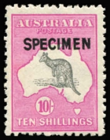 Lot 30:10/- Grey & Aniline Pink Optd 'SPECIMEN' Type B BW #48x, fresh MUH, Cat $600+ (as mounted mint).