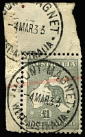 Lot 603:£1 Grey BW #53, corner marginal example [L1] with selvedge intact, minor surface scuff, two superb strikes of Mount Magnet (WA) '4MR33' datestamp, Cat $500.
