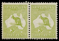 Lot 115:3d Deep Olive Die I BW #13 pair, few nibbed perf, very well centred, MUH, Cat $350+.