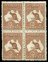 Lot 511:6d Chestnut Die IIB BW #22 block of 4, upper-left unit mild paper wrinkle, some trivial faint spots on gum, MUH, Cat $400+.