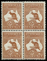 Lot 42:6d Chestnut Die IIB BW #21, block of 4, couple nibbed perfs, very well centred, fresh MUH, Cat $400+.