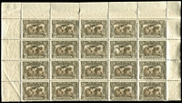 Lot 585:1931-38 6d Kingsford Smith Airmail BW #144 upper-half of pane block of 20 (5x4) BW #144, two units surface abrasions, sheet margins intact (few perf separations), most units MUH, Cat $400+.