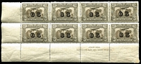 Lot 694:1931-38 6d Kingsford Smith Airmail Overprinted 'OS' Plate 1 Ash imprint block of 8 BW #144(OS)zd, fresh MUH, Cat $375+.