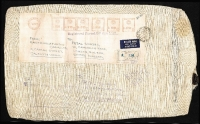 Lot 11 [2 of 2]:India 1975 Calcutta registered airmail cloth sack to UK with 32r80p meter franking, customs declartaion label on reverse (for two shirts); fine condition.