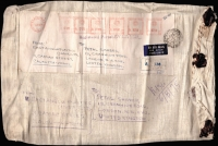 Lot 11 [1 of 2]:India 1975 Calcutta registered airmail cloth sack to UK with 32r80p meter franking, customs declartaion label on reverse (for two shirts); fine condition.
