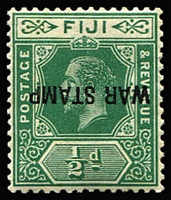 Lot 1301:1915-19 'WAR STAMP' Overprint ½d green variety Overprint inverted, some mild gum tones, fine overall, MVLH, Cat £650.