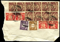 Lot 1536 [3 of 8]:1963-64 Postage Dues on Ciba Labs Ltd (Horsham) bulk postage due receipt fragments, several with high value frankings of up to £2/12/-, others with attractive multicoloured frankings. Unusual offering. (50+ items)