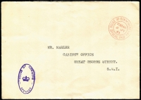 Lot 472 [3 of 5]:Government or Official Mail Selection including 1960s House of Commons or Government Departmental 'OFFICIAL PAID' mail including 1964 with 'HOUSE OF COMMONS/SPEAKER' oval handstamp, undated PM's Office 'BY HAND/IMMEDIATE' cover; also postal stationery including 1912 KGV ½d Postal Card for Borough of Hastings with Reply Card intact, 1949 5½d + 1d Registration Envelope with Mobile Post Office No 1 datestamps; also some unrelated or foreign material. Interesting lot. (50)