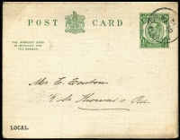 Lot 472 [1 of 5]:Government or Official Mail Selection including 1960s House of Commons or Government Departmental 'OFFICIAL PAID' mail including 1964 with 'HOUSE OF COMMONS/SPEAKER' oval handstamp, undated PM's Office 'BY HAND/IMMEDIATE' cover; also postal stationery including 1912 KGV ½d Postal Card for Borough of Hastings with Reply Card intact, 1949 5½d + 1d Registration Envelope with Mobile Post Office No 1 datestamps; also some unrelated or foreign material. Interesting lot. (50)