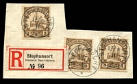 Lot 911 [2 of 6]:Postmarks On Postal Card Or Piece with 1900 Matupi Powell Type #25 on 10pf Postal card to Berlin, Spandau arrival datestamp; also Stephansort Type #7 '13/6/11' datestamp tying 3pf x2 or 5pf x2 Yacht singles to small pieces, plus same datestamp on larger piece with 3pf Yacht x3 & Stephansort registration label. (1 card & 5 pieces)