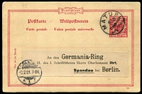 Lot 911 [1 of 6]:Postmarks On Postal Card Or Piece with 1900 Matupi Powell Type #25 on 10pf Postal card to Berlin, Spandau arrival datestamp; also Stephansort Type #7 '13/6/11' datestamp tying 3pf x2 or 5pf x2 Yacht singles to small pieces, plus same datestamp on larger piece with 3pf Yacht x3 & Stephansort registration label. (1 card & 5 pieces)