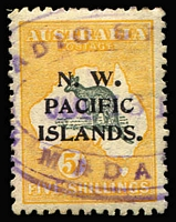 Lot 1331:1915-16 Kangaroos 2nd Wmk 5/- grey & yellow (b) SG #92, few nibbed perfs, part Radio Station Madang oval datestamp in violet, Cat £110.