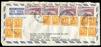 Lot 1604:1951 (Jun 8) triple-rate commercial airmail cover to United States Rubber Export Co in New York attractively franked with 1/- Canterbury Centennial x4 & KGVI 2d orange x12, opened on two sides.