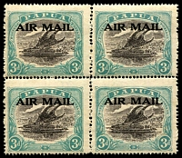 Lot 854:1929-30 'AIR MAIL' Overprints Harrison printing 3d sepia-black & bright blue-green (Pos 14-15, 19-20) SG #113, mild gum aging, three units MUH, Cat £200+.