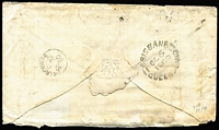 Lot 1070 [2 of 2]:1860 (Sep 27) cover from Melbourne with colourful tri-colour franking of 6d QOT, 4d Beaded Oval and 1d Emblems x2 tied by BN '1' cancels of Melbourne, 'BRISBANE/OC6/1860/QUEENSLAND' transit backstamp & 'ROCKHAMPTON/OC14/1860/NSW' arrival datestamp on front. Rare interstate correspondence. Ex Manning