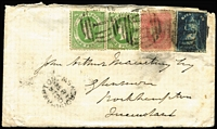Lot 1070 [1 of 2]:1860 (Sep 27) cover from Melbourne with colourful tri-colour franking of 6d QOT, 4d Beaded Oval and 1d Emblems x2 tied by BN '1' cancels of Melbourne, 'BRISBANE/OC6/1860/QUEENSLAND' transit backstamp & 'ROCKHAMPTON/OC14/1860/NSW' arrival datestamp on front. Rare interstate correspondence. Ex Manning