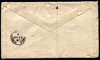 Lot 1206 [2 of 2]:1887 Thursday Island cover to Surbiton (Surrey) England with 4d yellow Second Sidefaces pair tied by almost complete Rays '148' cancel, clearly discernible 'THURSDAY ISLAND/AU25/87/QUEENSLAND' datestamp alongside, Kingston-on-Thames (Surrey) backstamp, some age spotting & small edge blemishes. Possibly the earliest recorded cover with a Rays '148' cancel.