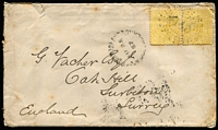 Lot 1206 [1 of 2]:1887 Thursday Island cover to Surbiton (Surrey) England with 4d yellow Second Sidefaces pair tied by almost complete Rays '148' cancel, clearly discernible 'THURSDAY ISLAND/AU25/87/QUEENSLAND' datestamp alongside, Kingston-on-Thames (Surrey) backstamp, some age spotting & small edge blemishes. Possibly the earliest recorded cover with a Rays '148' cancel.